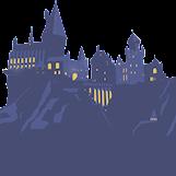 Hogwarts (ett slott med tinnar och torn som ligger bland bergen) syns i blå siluett