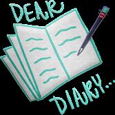 Bild på en anteckningsbok och en penna som skriver. Det står Dear Diary i bakgrunden