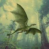 Grön drake som flyger i en skog