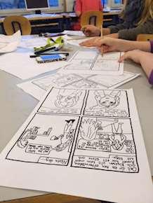 Bild från serieworkshop på Träkvista