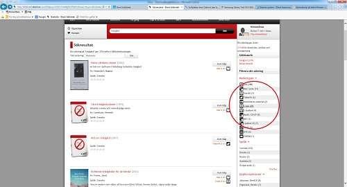 Skärmdump som visar var på sidan sökresultat kan filtreras på medietyp, språk, ämne och upphovsman