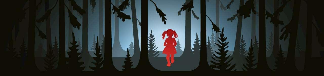 Bild på en flicka i en mörk skog