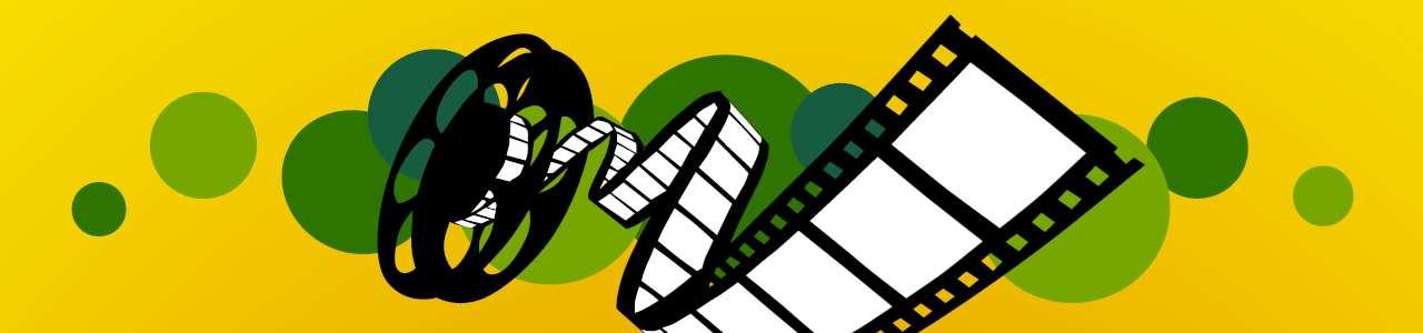 Bild på en filmrulle med gul bakgrund