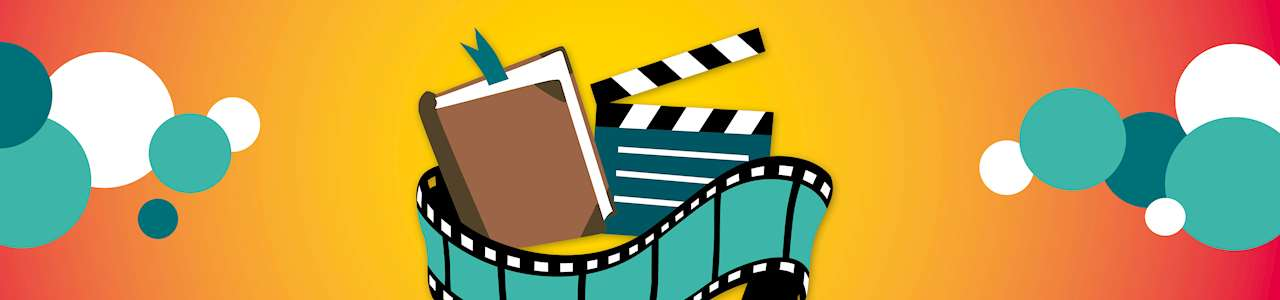 Bild på en tecknad bok, filmklapper och filmrulle mot orange bakgrund