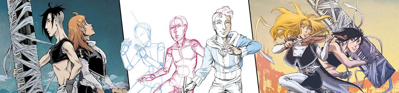 Bild på olika mangafigurer ritade av Lisa Medin