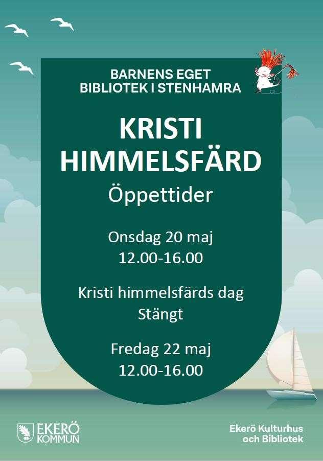 Barnens eget bibliotek i Stenhamra Kristi himmelsfärds dag stängt