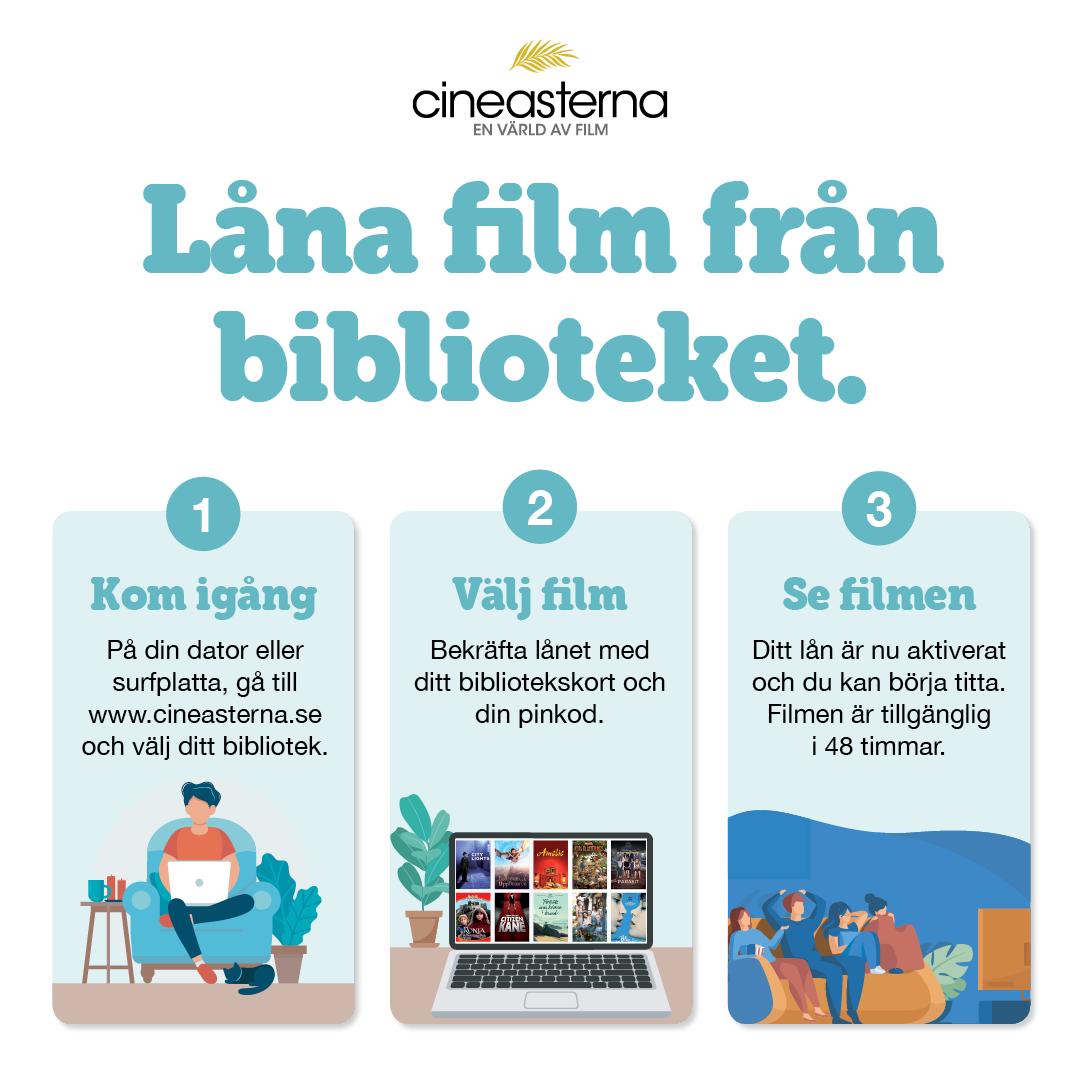 Bild på hur man lånar film på Cineasterna