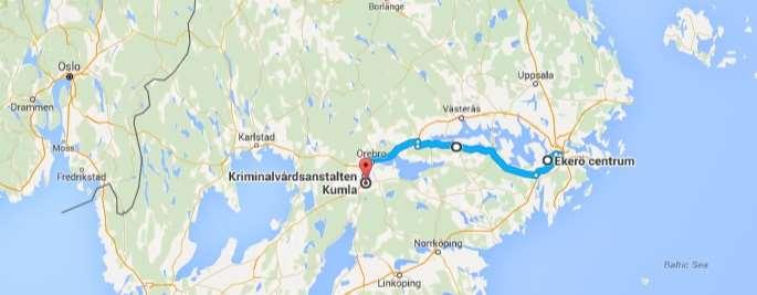 Kartbild över färd från Ekerö centrum till Kumla